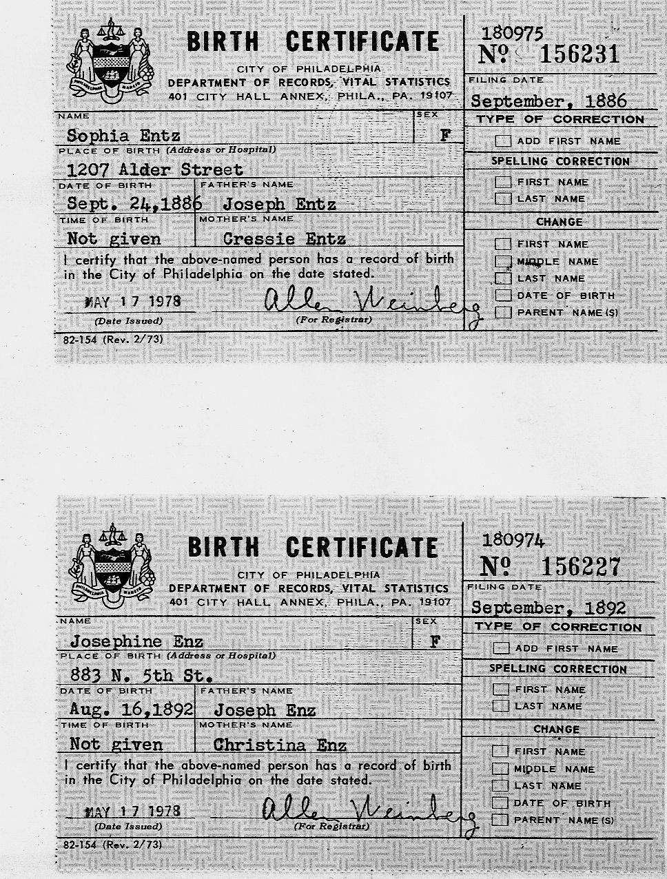 The enz family documents enz josephine sophia births 1886 1892 1betcityfo Gallery